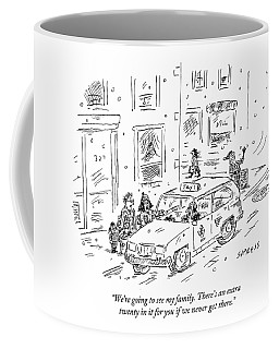 A Family Talks To A Taxi Driver Before Getting Coffee Mug