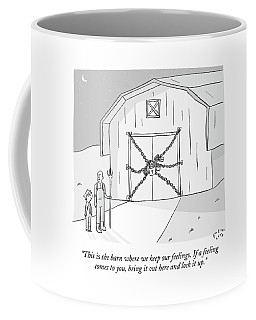 A Farmer Shows His Son A Barn That Is Locked Coffee Mug