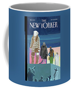 A Fashion Show With Animals Walking Coffee Mug