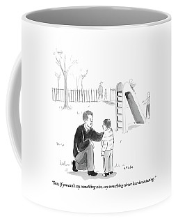 A Father Encourages His Son At The Playground Coffee Mug