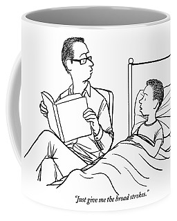 A Father Is Seen Reading A Book To His Son Who Coffee Mug