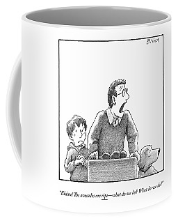A Father, Son, And Dog All Worry At The Sight Coffee Mug