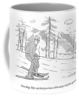 A Father Teaches His Son To Ski. The Son Coffee Mug