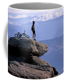 A Female Mountain Biker Stands Coffee Mug