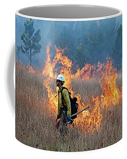 A Firefighter Ignites The Norbeck Prescribed Fire. Coffee Mug