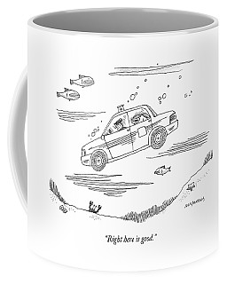 A Fish Rides In The Back Seat Of A Taxi Cab Coffee Mug