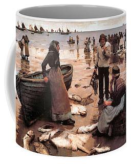 A Fish Sale On A Cornish Beach Coffee Mug
