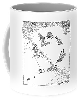A Fisherman Wading In The Water  Catches A Fish Coffee Mug