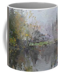 A Foggy Fall Day By The Pond  Coffee Mug