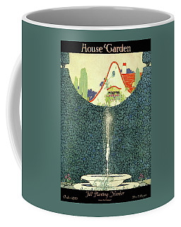 A Fountain With A Hedge In The Background Coffee Mug