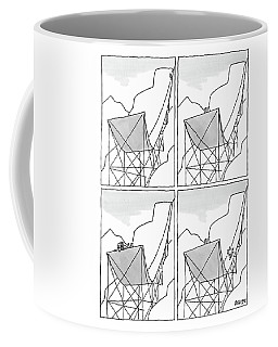 A Four-paneled Cartoon Shows A Skier On A Huge Coffee Mug