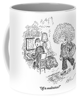 A Frazzled-looking Woman With Crazy Hair Prepares Coffee Mug