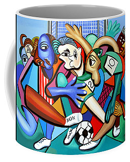 Coffee Mug featuring the painting A Friendly Game Of Soccer by Anthony Falbo