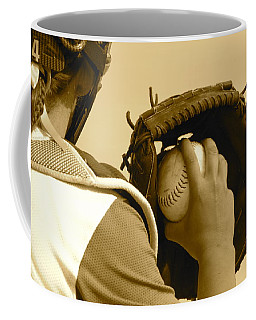 A Game Of Catch Coffee Mug by Laddie Halupa