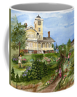 Coffee Mug featuring the painting A Garden For All Ages by Nancy Patterson