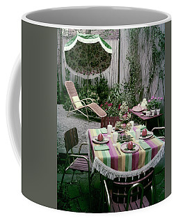 A Garden Set Up For Lunch Coffee Mug