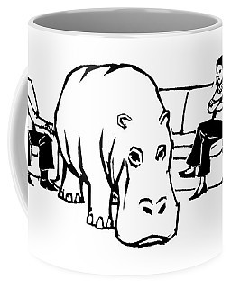 A Giant Hippopotamus Is In The Middle Of A Living Coffee Mug