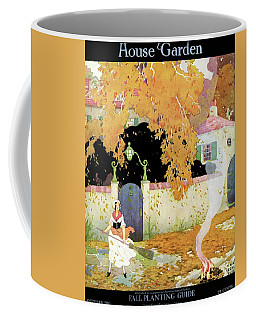 A Girl Sweeping Leaves Coffee Mug