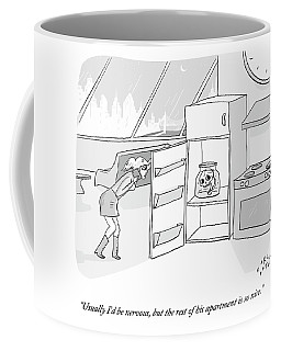 A Girl Who Is Talking On The Phone Opens A Fridge Coffee Mug