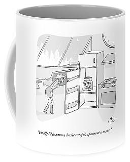 A Girl Who Is Talking On The Phone Opens A Fridge Coffee Mug