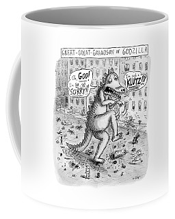 A Godzilla Is Seen Tiptoeing Through A City Coffee Mug