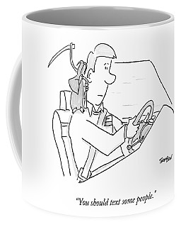 A Grim Reaper Sits On A Driver's Shoulder Coffee Mug