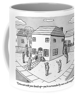 A Group Of Men With Megaphones Are Seen Circled Coffee Mug