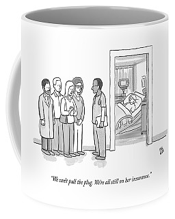 A Group Of People Talk To A Doctor Coffee Mug