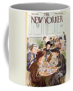 A Group Of Women Review A Dinner Receipt Coffee Mug