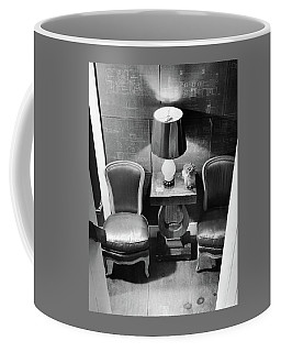 A Hallway With Blueprints Coffee Mug