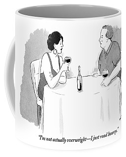 A Heavyset Man Talks To His Date At A Dinner Coffee Mug