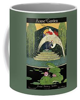 A House And Garden Cover A Bird Over A Pond Coffee Mug