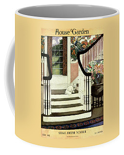 A House And Garden Cover Of A Cat On A Staircase Coffee Mug