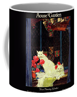 A House And Garden Cover Of White Cats Coffee Mug