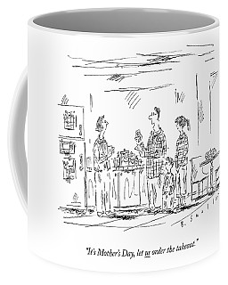 A Husband And Children Speak To A Mother Coffee Mug