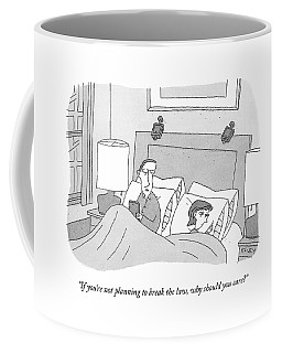 A Husband Speaks To His Wife In Their Bed Coffee Mug