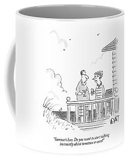 A Husband Talks To A Wife On A Porch Of A Beach Coffee Mug