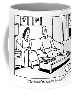 A Husband Talks To His Wife In Their Living Room Coffee Mug
