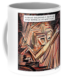 A Husband Trips Down Some Stairs In A Parody Coffee Mug