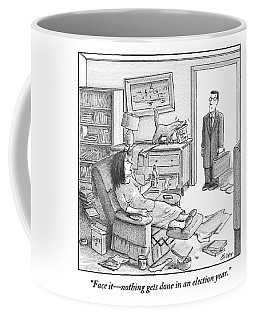 A Husband Walks Into A Trashed Room Coffee Mug