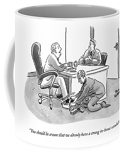 A Job Interviewer Tells An Interviewee Coffee Mug