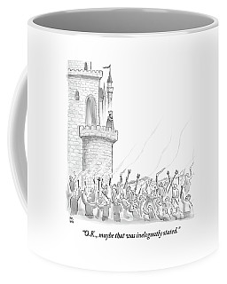A King Addresses An Angry Mob Storming The Castle Coffee Mug