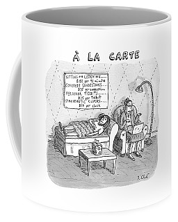 A La Carte -- Therapy Where A Placard Lists Coffee Mug