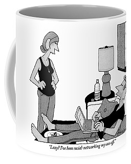 A Lazy Husband On A Couch Speaks Coffee Mug