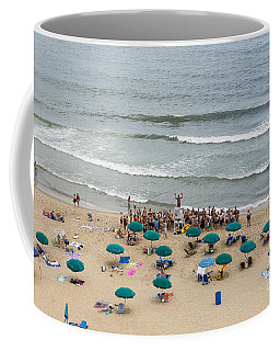 A Lifeguard Gives A Safety Briefing To Beachgoers In Ocean City Maryland Coffee Mug