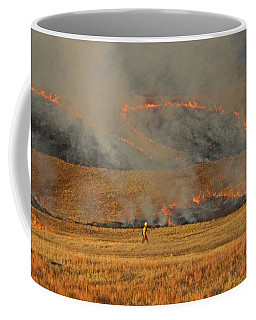 A Lone Firefighter On The Norbeck Prescribed Fire. Coffee Mug