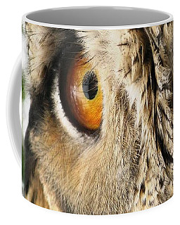 Coffee Mug featuring the photograph Bubo Bubo- Eurasian Eagle Owl. Close Up. by Ausra Huntington nee Paulauskaite