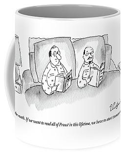A Male Couple Wearing Matching Pajamas Read Coffee Mug