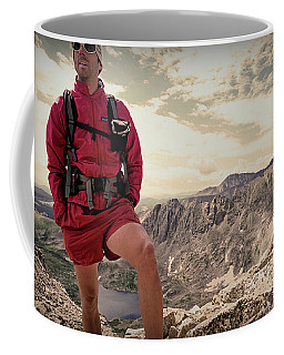 A Male Hiker Stops To Take In The Views Coffee Mug