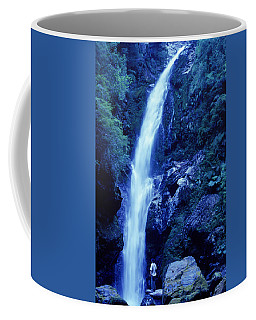 A Man Admires A Waterfall, Patagonia Coffee Mug